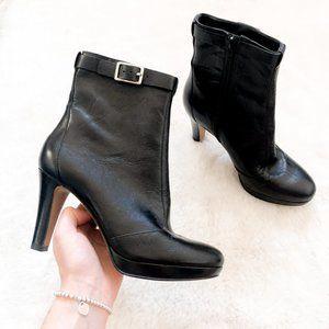 Nine West Black Leather Moyen Heel Booties Sz 6
